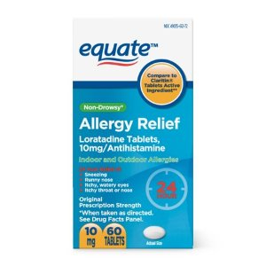 Equate 24 Hour Non-Drowsy Allergy Relief Loratadine Tablets, 10 mg, 60 Count - Walmart.com