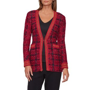 Tweed Chain-Trim Sweater