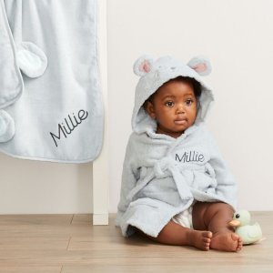 My 1st YearsPersonalized Gray Mouse Towelling Robe