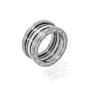BvlgariB Zero 18k White Gold Diamond Band Ring Size 6.75. AN857023