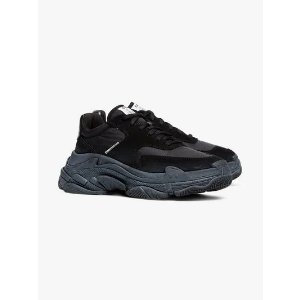 BalenciagaBlack Triple S low top velvet trainers