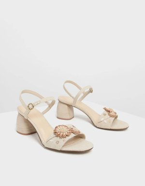 Taupe Open Toe Floral Sandals | CHARLES & KEITH US
