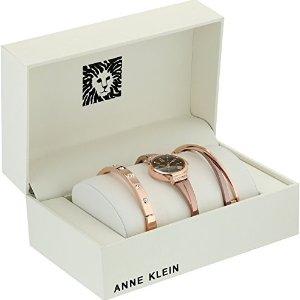 低至$28.55 $83.90 收封面超美3件套Amazon 精选 Anne Klein 施华洛世奇水晶镶钻女表热卖