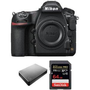$2796.95 (原价$3326.95)Nikon D850 机身 + 电池手柄 + Seagate 4TB + 64GB SDXC