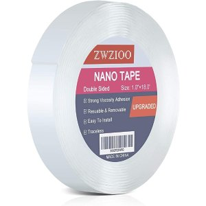 Premium Nano Double Sided Tape Heavy Duty (18FT), Multipurpose Removable Sticky Wall Tape Strips, Transparent Gel Grip Mounting Tape Washable Strong Adhesive Tape for Carpet Photo Poster Car Decor