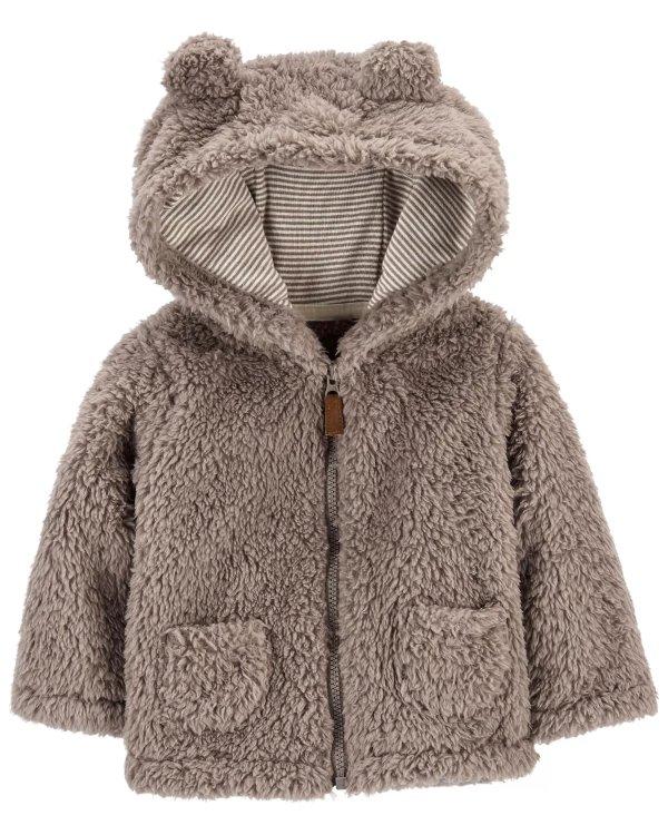 婴儿厚抓绒保暖连帽外套