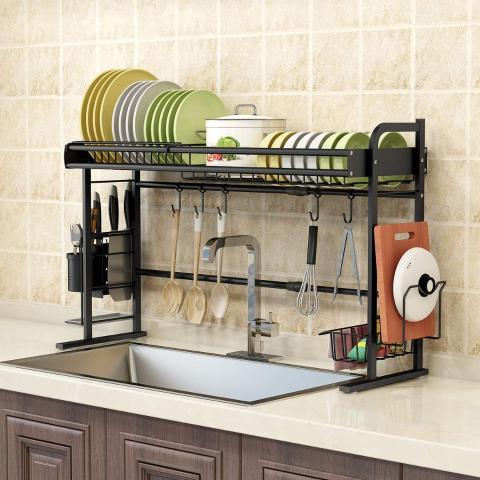 $74.49包邮(原价$149.99)BENOSS 可调节水槽上餐具沥水架 厨房收纳小帮手