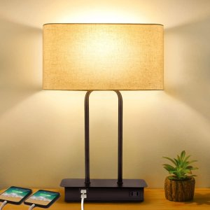 BesLowe 3-Way Dimmable Touch Control Table Lamp with 2 USB Ports and AC Power Outlet