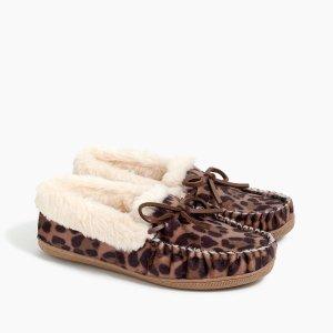 J.Crewbuy 1 get 1 freeLeopard calf hair moccasin slippers
