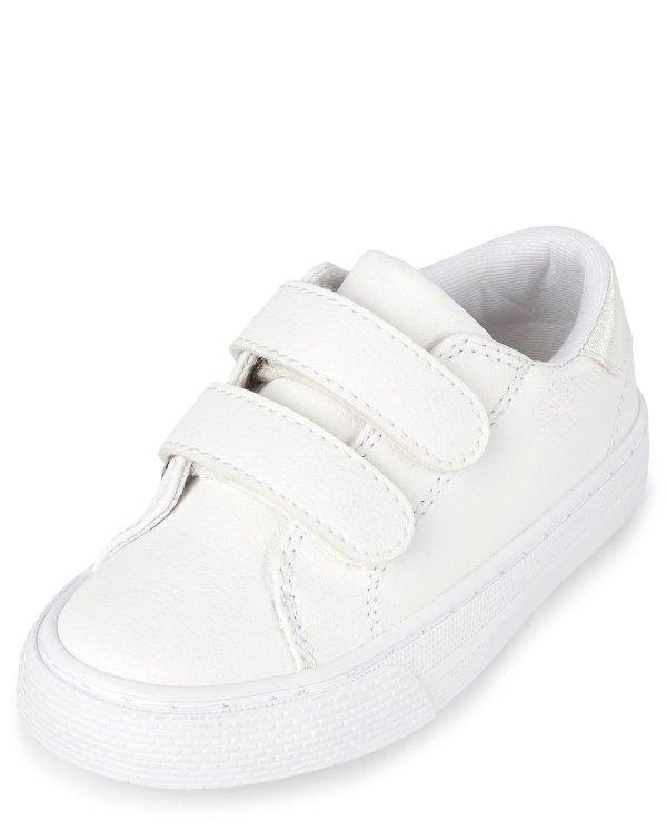 小童魔术贴小白鞋