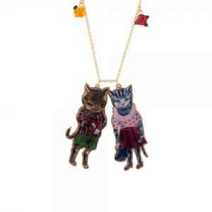 Les NereidesBrown and Blue Kitty Couple Necklace