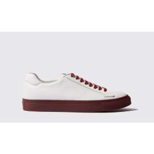 Men's White Sneakers with red sole - Ugo Red | Scarosso