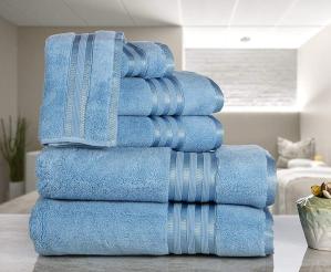 $21.99限今天:Casa Lino  高级100%纯棉速干超柔浴巾6件套 5色可选