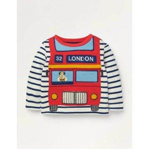 BodenVehicle Applique T-shirt - Ivory/Starboard Blue Bus | Boden US