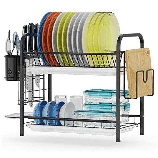 GSlife 大容量不锈钢2层厨房滤水架 带砧板架和餐具架