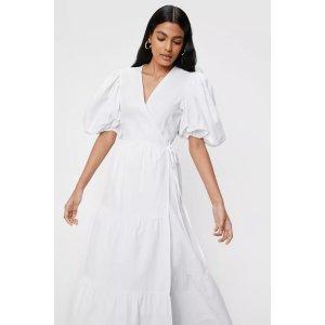 Nasty GalLinen Look Puff Sleeve Wrap Midi Dress