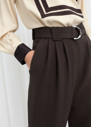 Belted Tapered Pants - Brown - Trousers - & Other Stories