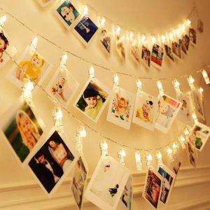 13英尺40颗LED仙女灯串 带20个夹子