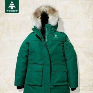 精选7折 800-fill羽绒填充  平价大鹅Woods 男士羽绒服,狼毛领加持,加拿大本土产防寒神器