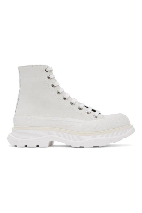 男士白色系带高帮鞋