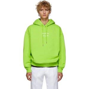 Acne Studios荧光绿字母分离logo卫衣