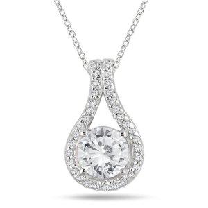 Szul1 1/5 Carat TW Diamond Halo Loop Pendant in 10K White Gold