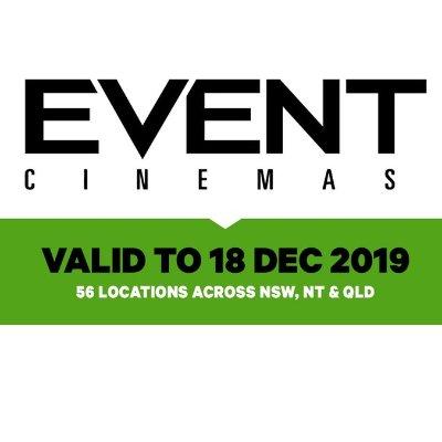 $13.5 (原价$24) 限时抢购Event Cinemas 普通场次电影票热卖 全澳多地通用