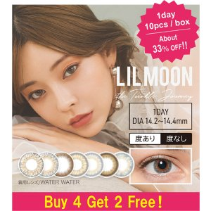 LIL MOON[Buy 4 Get 2 Free!] LIL MOON 1day [1 Box 10 pcs * 6 boxes] / Daily Disposal 1Day Disposable Colored Contact Lens DIA14.4/14.2mm