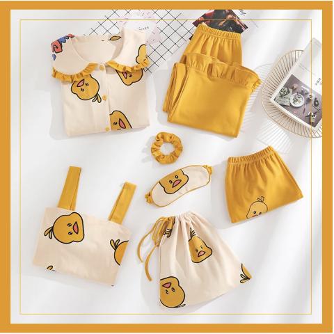 6折 售价€30收7件套随心搭配可爱小黄鸭睡衣套装 初棉质地 舒适透气 一年四季一就够