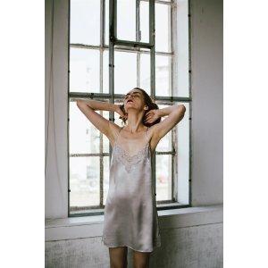 CloroomLace-Trimmed Silk Satin Slip Dress-Shell