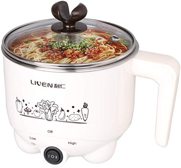 1L Liven Electric Hot Pot with 304 Stainless Steel Healthy Inner Pot, Cook Noodles and Boil Water Eggs Easy,Small Electric Cooker 600W 120V HG-X1007