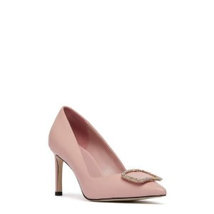 Pedder RedROY - CRYSTAL BUCKLE POINTED PUMPS PINK KID LEATHER