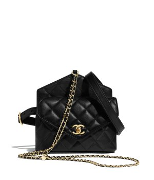 Calfskin & Gold-Tone Metal Black Waist Bag | CHANEL