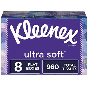 Kleenex Ultra Soft Facial Tissues, 8 Flat Boxes, 120 Tissues per Box