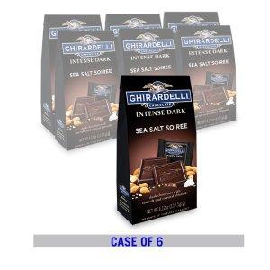 Ghirardelli满额立享7.5折海盐杏仁黑巧克力方块4.12oz. 6包