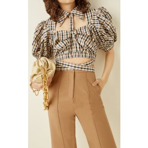 RokhPuff-Sleeve Cutout Plaid Crop Top