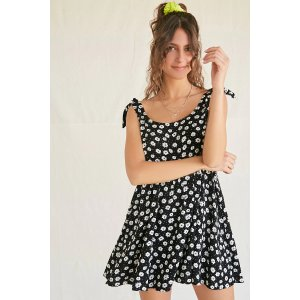 Forever21Floral & Pin Dot Babydoll Dress