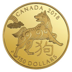 18K金狗年纪念币 $150