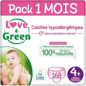 Love & Green 4+号 (9-20 Kg) - Pack 1 Mois (168 Couches)