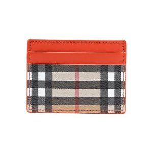 BurberryChecked canvas and leather cardholder