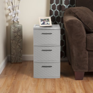 Sterilite, 3 Drawer Weave Tower, Cement, Case of 2