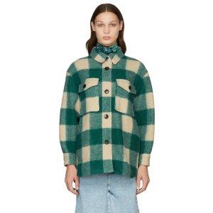 Isabel Marant Etoile爆款绿色Green & Beige Check Harveli 衬衫夹克
