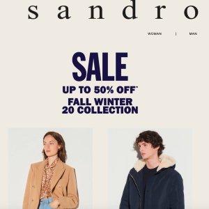 5折起 开衫£156Sandro官网 冬季大促正式开始 小香风开衫、毛衣外套全都有