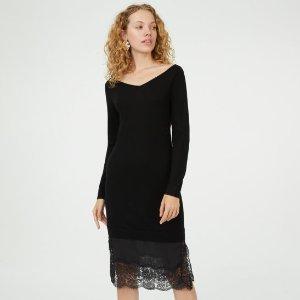 毛衣蕾丝连衣裙