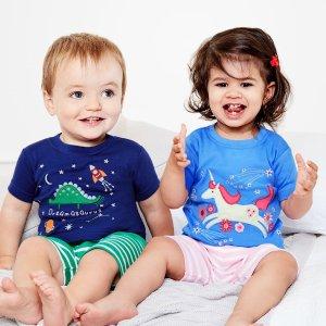 购2件立减$10+送童书最后一天:JoJo Maman Bébé 婴幼童短袖睡衣套装特卖