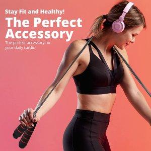 $7.64(原价$11.99)健身跳绳 可调节长度全家适用 泡沫手柄耐用材质 居家减肥