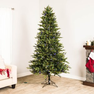 $98 (Was $198)GE 7-ft Pre-lit Ashville Fir Artificial Christmas Tree with 500 Multi-function Color Changing Warm White LED Lights