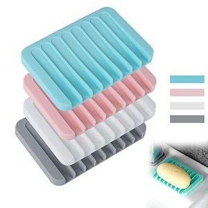 BOYATONG 硅胶不积水香皂盒 4个