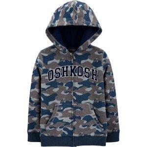 Oshkosh4-14码Logo 迷彩摇粒绒外套