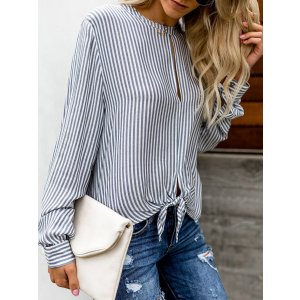 Women's Round Neck Hollow Out Striped Long Sleeves Blouses 上衣